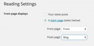 Changing the front to use  static page